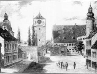 Das Spitaltor mit der Spitalkirche zu jener Zeit