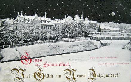 1900 Blick von der Mainbrücke Richtung St. Salvator/Bastei