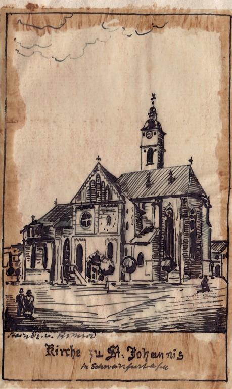 St. Johanniskirche - Pauschzeichnung des Friedrich Sixt