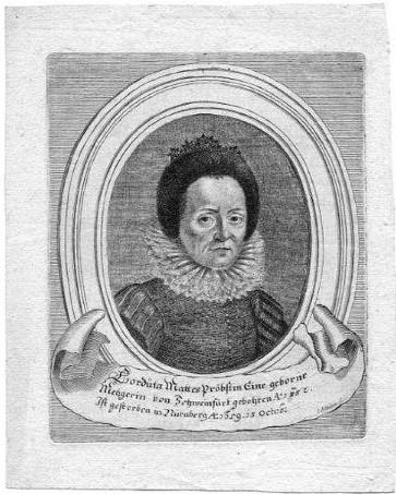 Cordula Mattes Pröbstin. Eine geborne Metzgerin von Schweinfurt geb. Anno 1582, gest. in Nürnberg Anno 1659, 15. Octob.