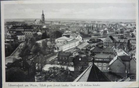 Das Ernst-Sachs-Bad von der Hl. Geist-Kirche aus gesehen um 1937