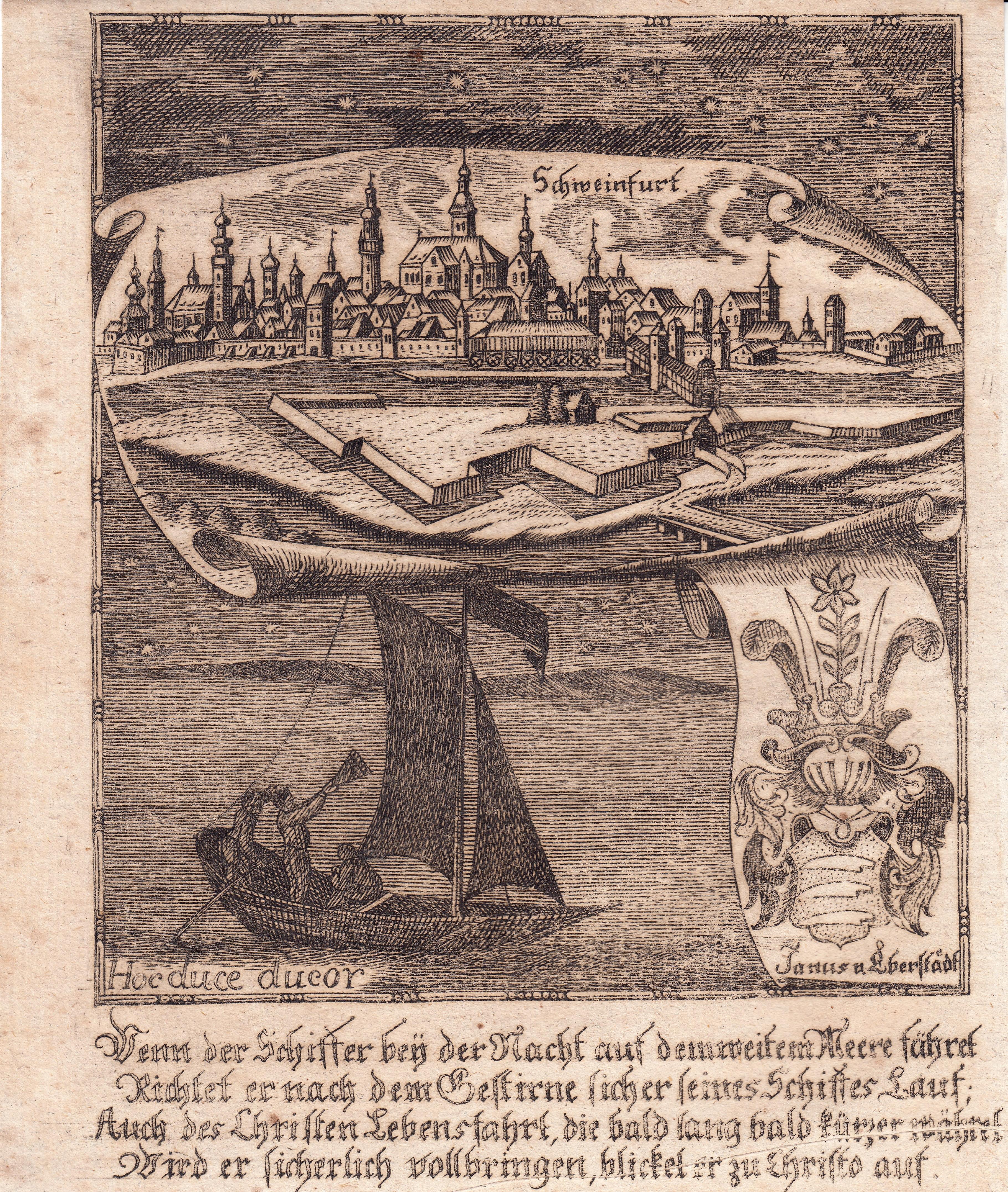 """Kupferstich aus Zittauisches Tagebuch, um 1800, 17 x 13 (H)  Sehr seltene Ansicht. - Das Blatt besitzt in der oberen Hälfte eine Gesamtansicht von Schweinfurt, darunter eine Allegorie zum Thema """"Segeln"""" und ein Wappen derer von Eberstadt. Ganz unten ein 4"""