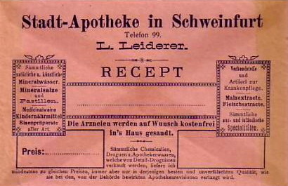Rezeptumschlag um 1900