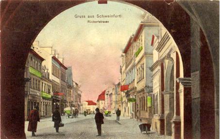 Rückertstraße ca. 1910 - Blick durch den Rathausdurchgang