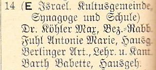 Auszug aus dem Adressbuch 1936