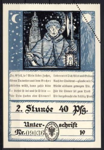 Hockersteuerschein um 1924 - Nördlingen - 2.Stunde 40 Pfennige