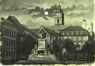 Marktplatz mit Rückertdenkmal 1898