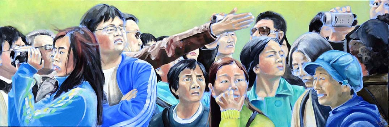 Asiaten in Europa, Öl auf Leinwand, 2012, 50 x 150