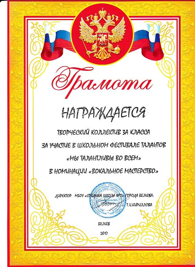 Фестиваль Талантов в начальной школе