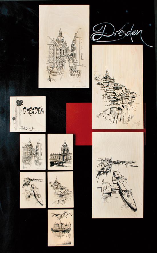 Grafische Dresden-Motive per Siebdruck auf Birkenholz.