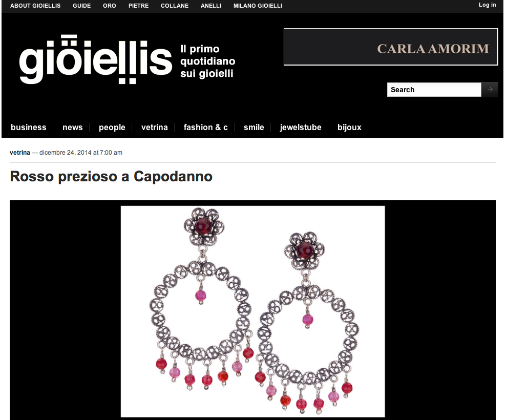 Our Blossom collection hoops in Gioielli magazine