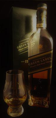 Johnnie Walker 15 Jahre Green Label Flasche und Verpackung