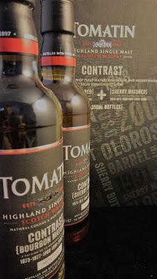 Tomatin Contrast Flaschen und Umverpackung