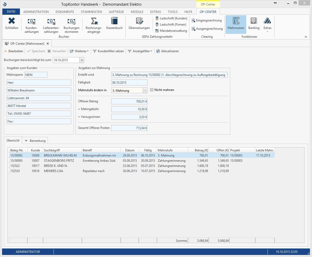 Bildschirm-Ausschnitt von TopKontor Handwerk V6: Mahnwesen