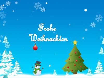 """blaue Weihnachtskarte mit Tannenbaum, Schneemann und Aufschrift """"Frohe Weihnachten"""