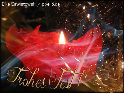 """Blider mit weihnachtlicher Kerze und goldem Schriftzug: """"Frohes Fest!"""""""