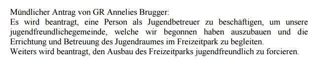 """Mündlicher Antrag im Gemeinderat für einen Jugendbetreuer und Forcierung des FZP """"jugendfreundlich"""""""