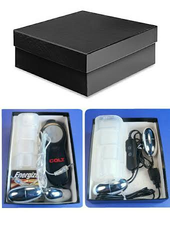Black leatherette storage box