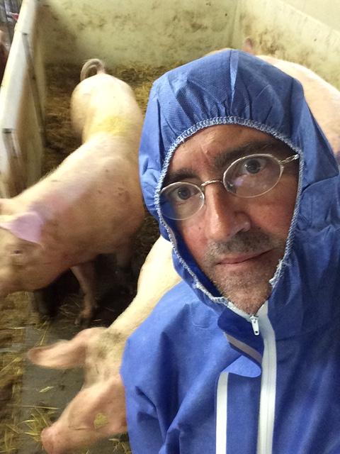 Her tar jeg selfie på besøk i en ganske vanlig grisebinge. Smitterisiko avgjør antrekket.