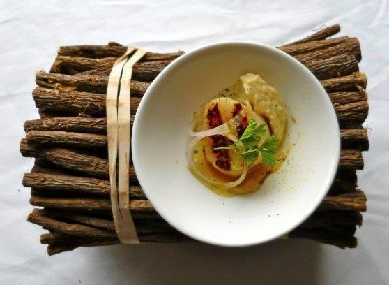 Lakris i mat med kamskjell