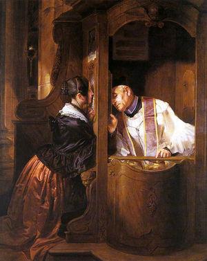 G. Molteni, La confessione, 1838 (Coll. privata)