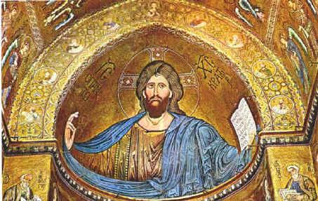 CRISTO RE - PANTOCRATOR - Duomo di Monreale SICILIA - Richiama la Sindone