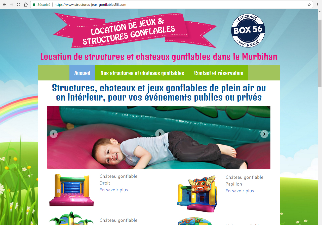 Location de structures gonflables à Auray (BOX56) ©lines-creation webdesign