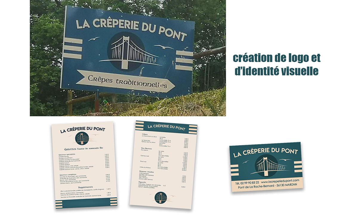 Identité visuelle La Crêperie du Pont La Roche-Bernard