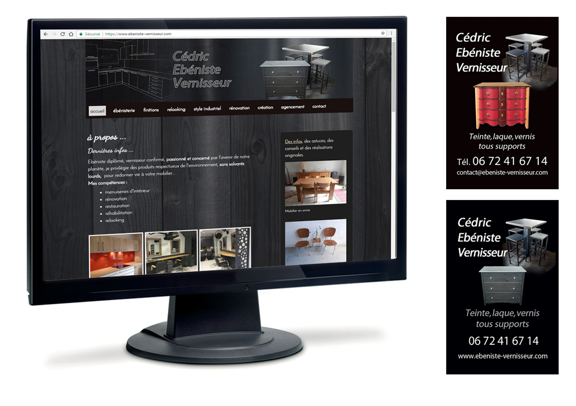Déclinaison identité visuelle site web et carte pro - Cédric Ebeniste Vernisseur