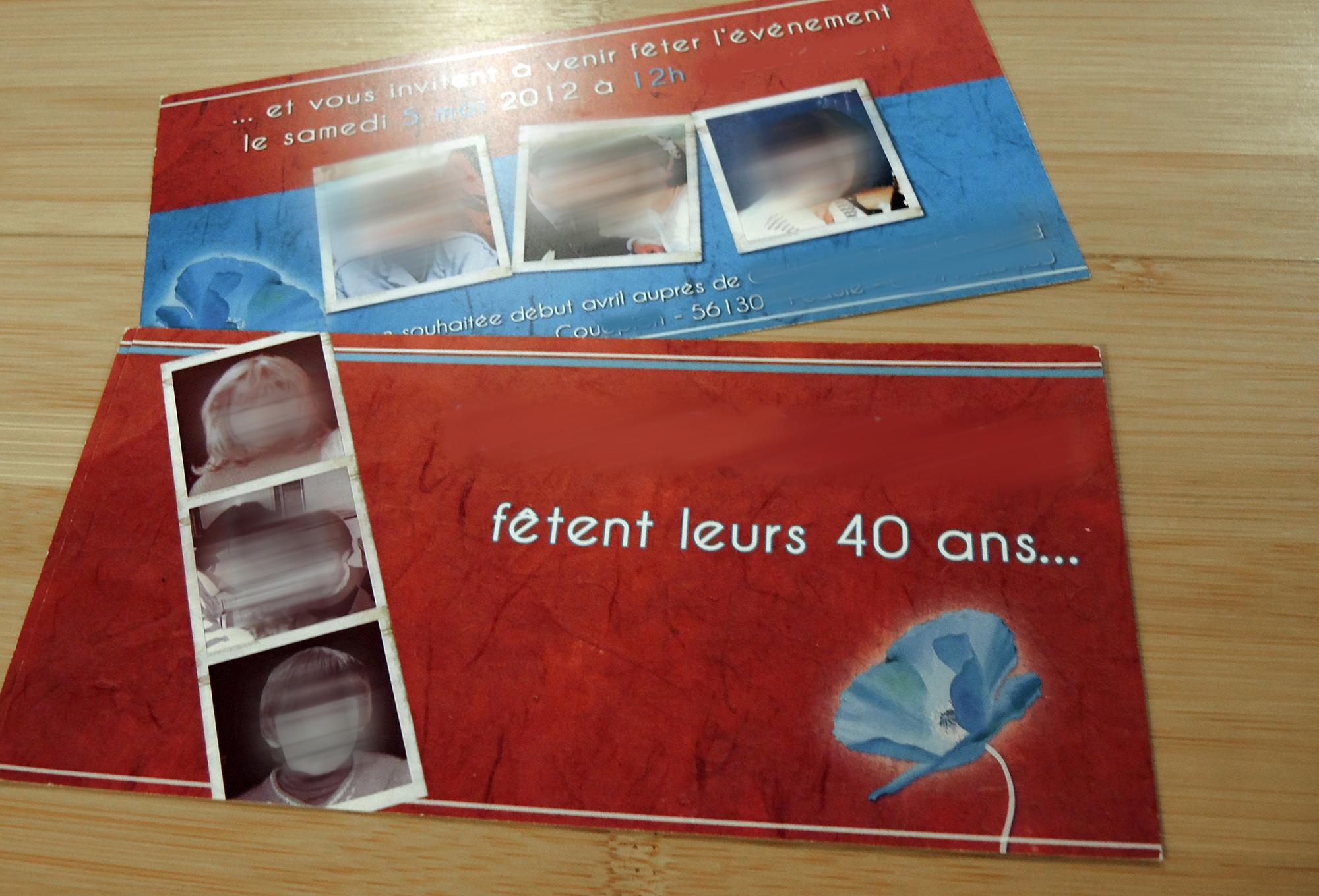 Invitation 40 ans