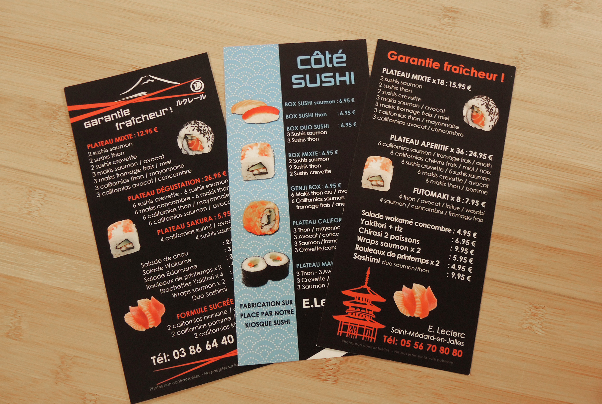 Flyers recto-verso gamme sushi