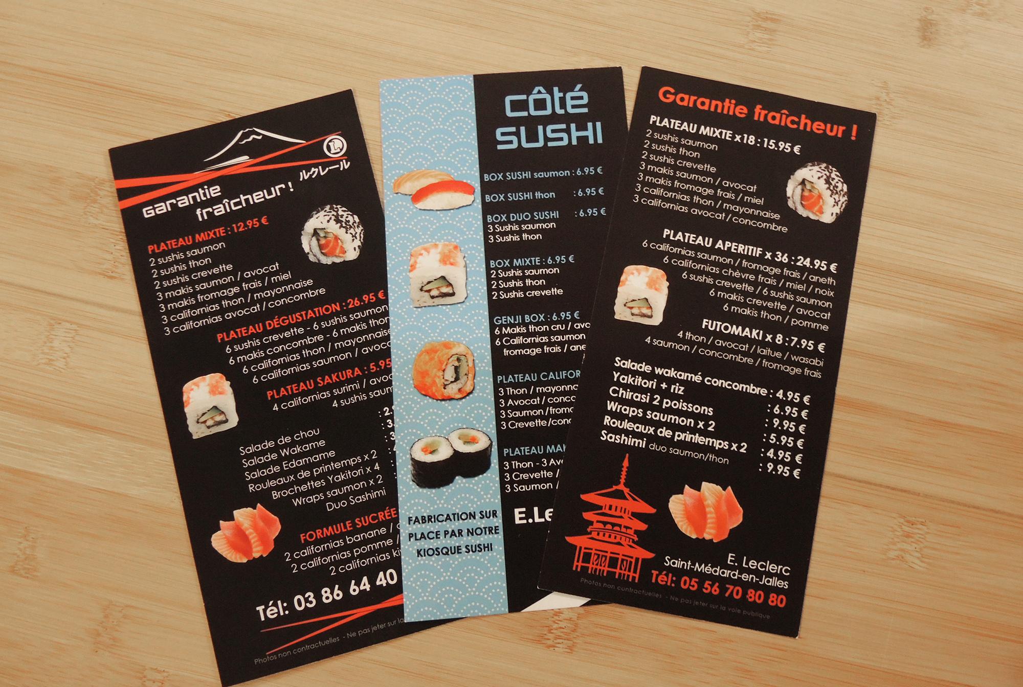 Flyers recto-verso gamme sushi