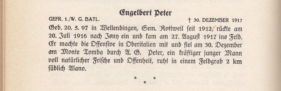"""Auszug aus dem Buch: """"Ehrenbuch der im Weltkrieg gefallenen katholischen Lehrer Württembergs"""" mit Dank an Württemberger-im-Weltkrieg.de"""
