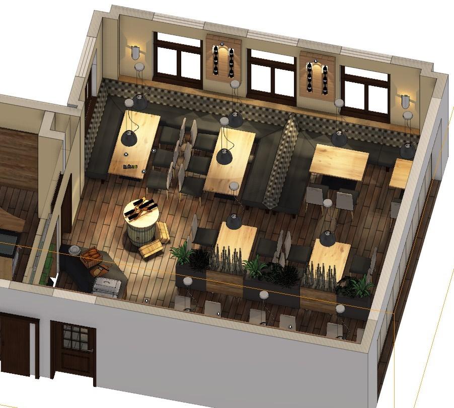 "3D Planung,  Gastronomie-Einrichtung ""Bergischer Hof"", Windeck"