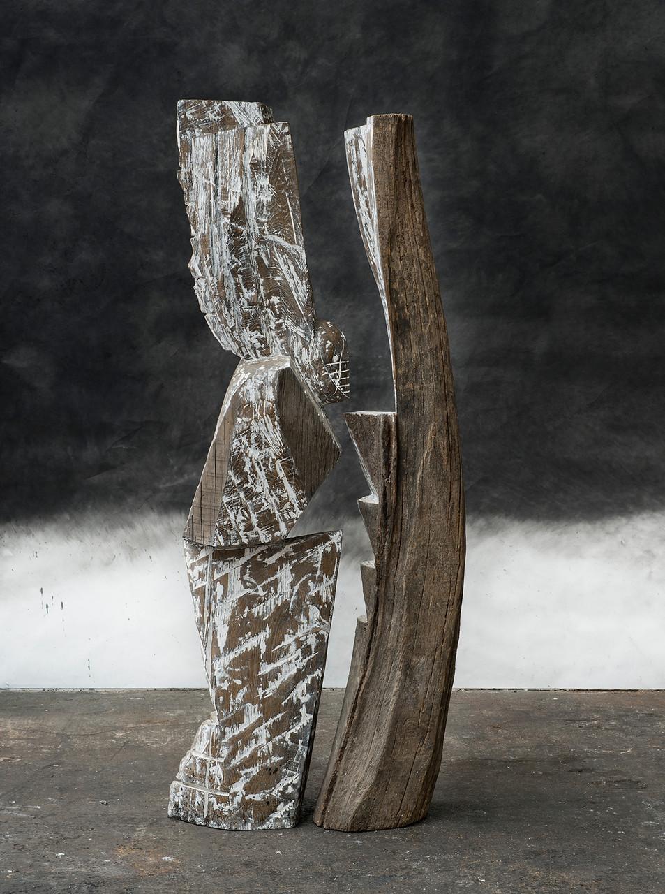 Présence de volcan, 2014, whitewashed oak, 172 x 72 x 40 cm <br> © Frédéric Ducout