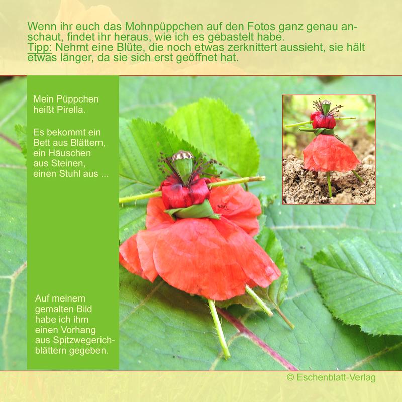 Püppchen aus einer Mohnblüte basten