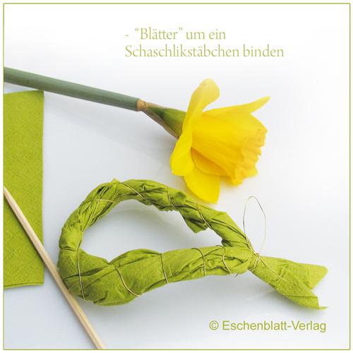 Grün für einen Frühlingsstrauß aus Servietten mit Kindern basteln
