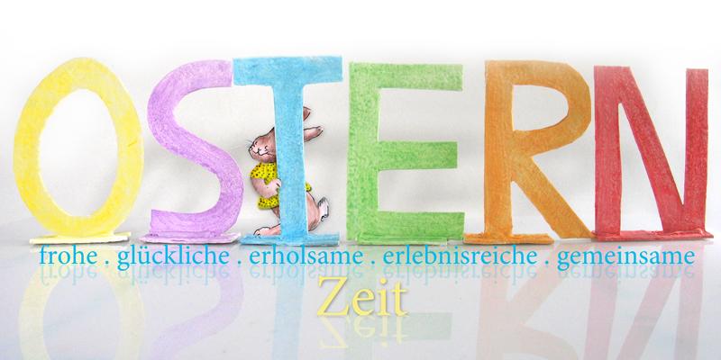 Schriftzug OSTERN bunt bemalt aus Eierkartondeckeln