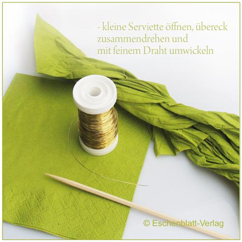 Grün für einen Frühlingsstrauß aus Servietten schnell gebastelt