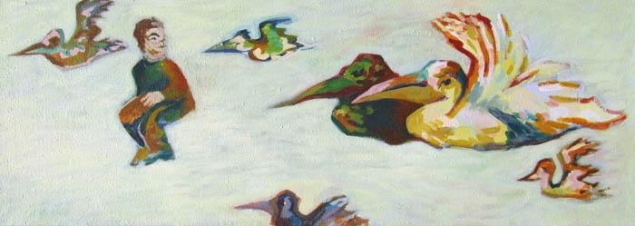 nine-winderlich-malerei-gruen-zart-vögel-fliegen-mesch-figur-himmel-bild-kaufen