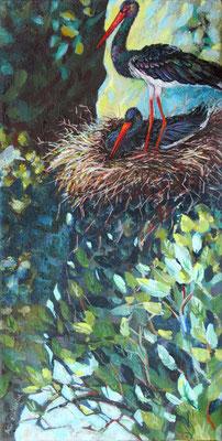"""Nine Winderlich, Malerei, """"BuntesSchwarz"""" Schwarzstorch-Paar im Nest auf einem Felsen"""