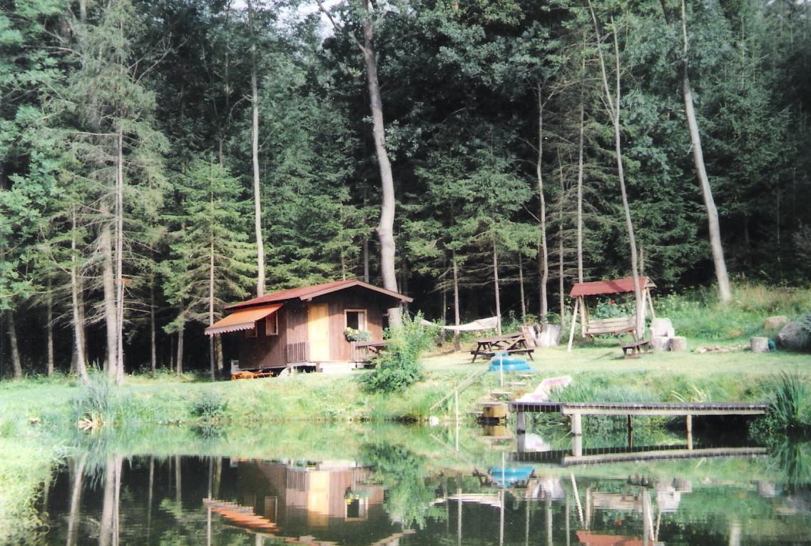 Die urige Holzhütte am Teich