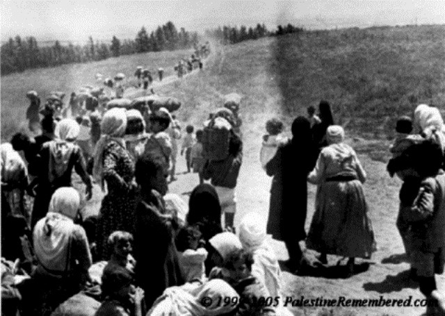 Juli 1948: Palæstinensiske kvinder og børn på flugt