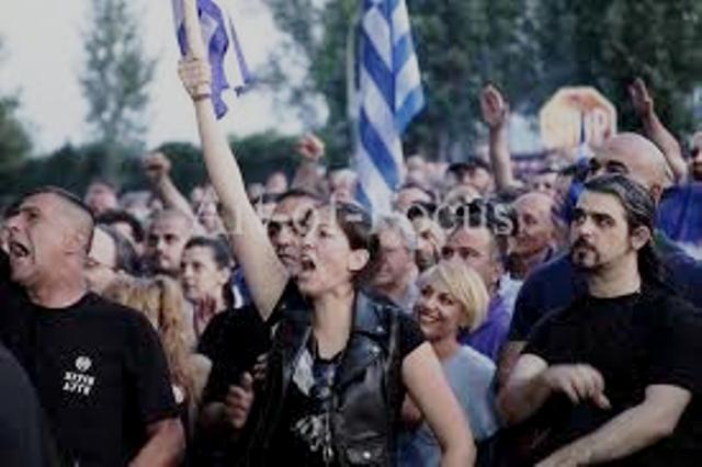 En af de talrige fascist-demonstrationer i Grækenland