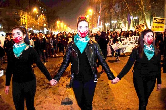Feministisk demo for fri abort i Santiago, marts 2020
