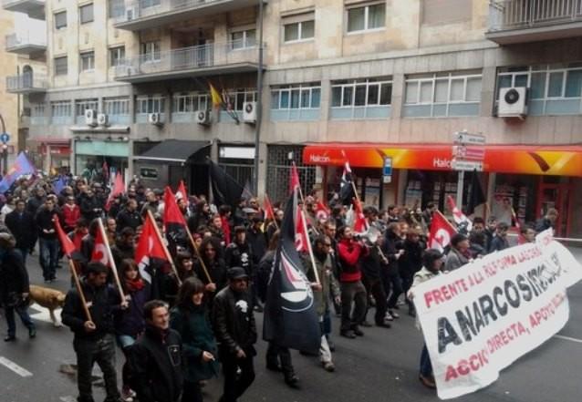 1. maj demo i Salamanca. Arr. det anarkosyndikalistiske fagbevægelse CNT