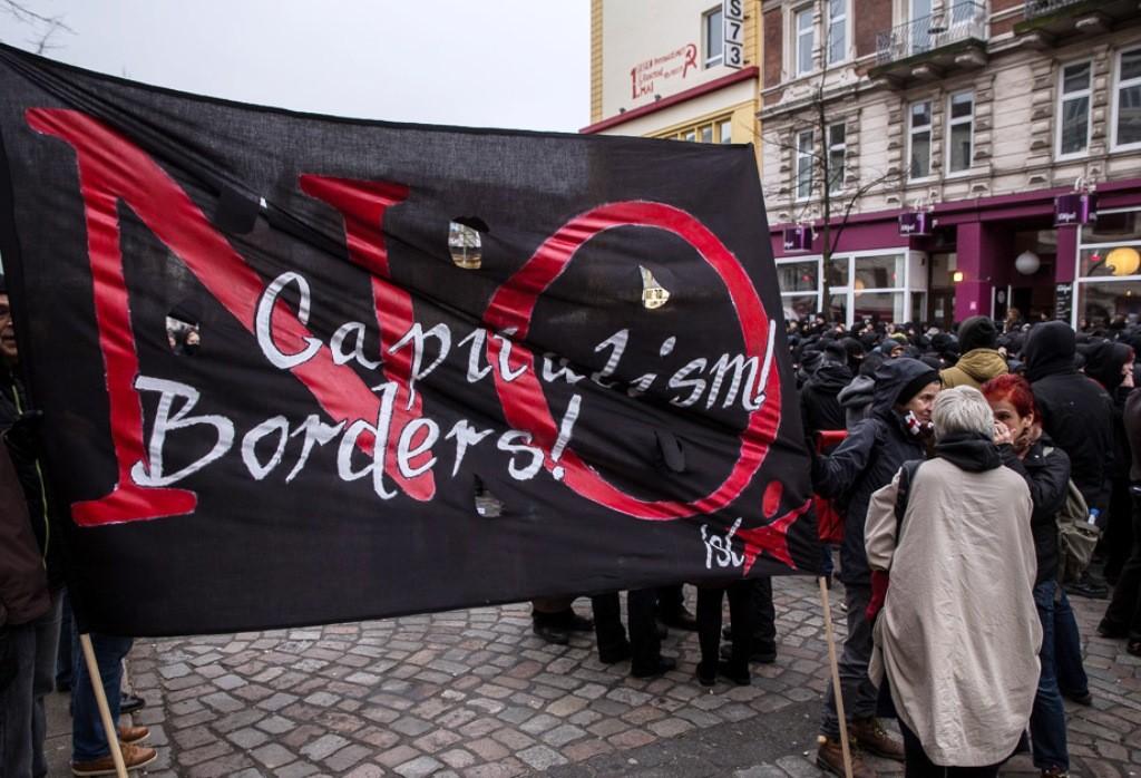 Fælles demo med bådflygtninge fra Lampedusa i Hamburg