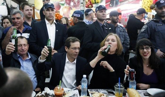 """"""" Zionistiske Union"""", under ledelse af Yitzhak Herzog og Zipi Livni (nr. 2 og 3 fra venstre)"""