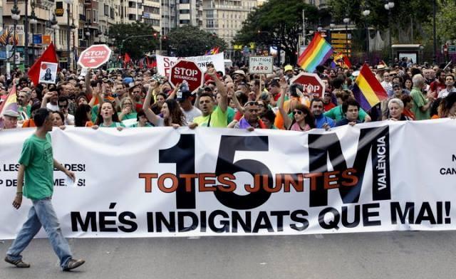 'Movimiento 15-M' - demonstration i Valencia, d. 12. maj 2013