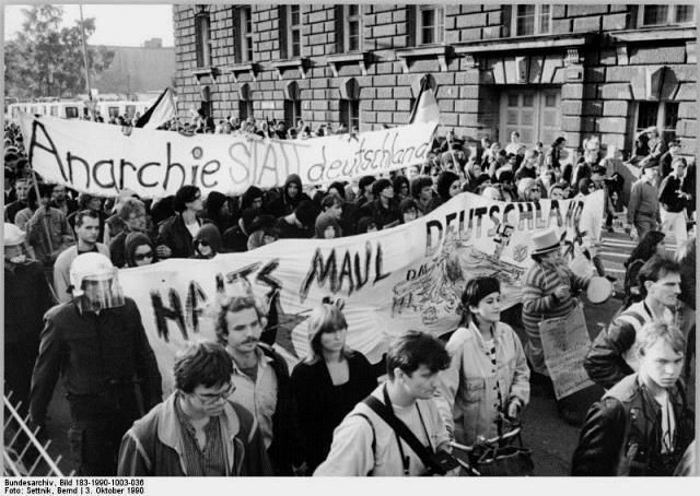 Autonom demo imod genforeningen, Berlin, den 3. oktober 1990